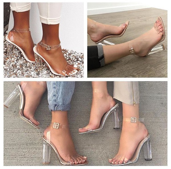 1c68f8d9612 Alia Strappy Perspex High Heels in Clear Nude