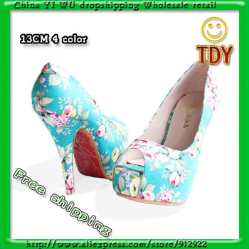 High heels girls flowers party platform 2013 arrive new pumps sexy wedding size 32 43 Open fish mouth women shoes promotions-in Shoes on Aliexpress.com