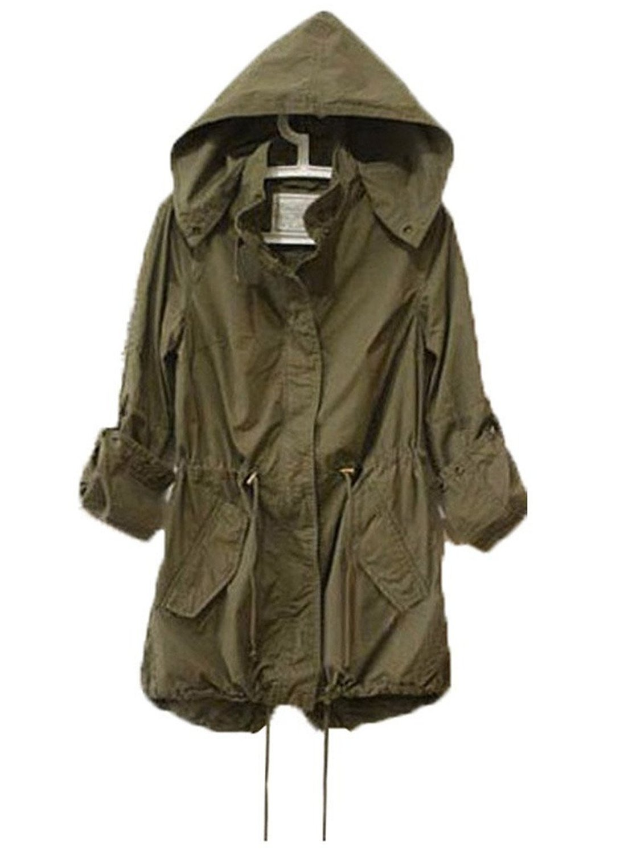 Hoodie Drawstring Army Green Military Trench Parka Jacket Coat ...