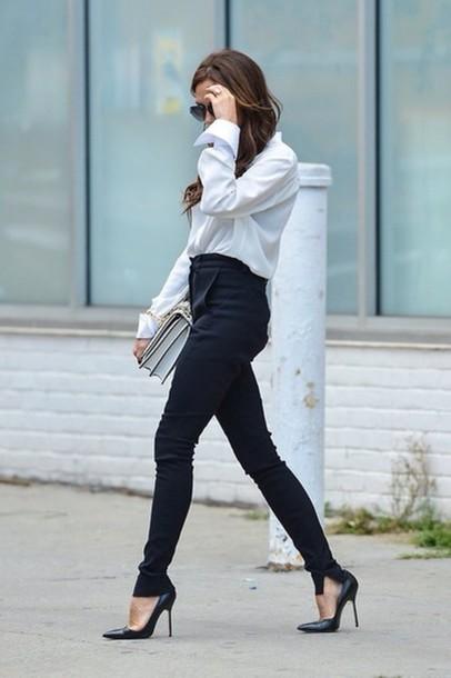 Pants Navy High Waisted Style Tumblr Miranda Kerr Wheretoget
