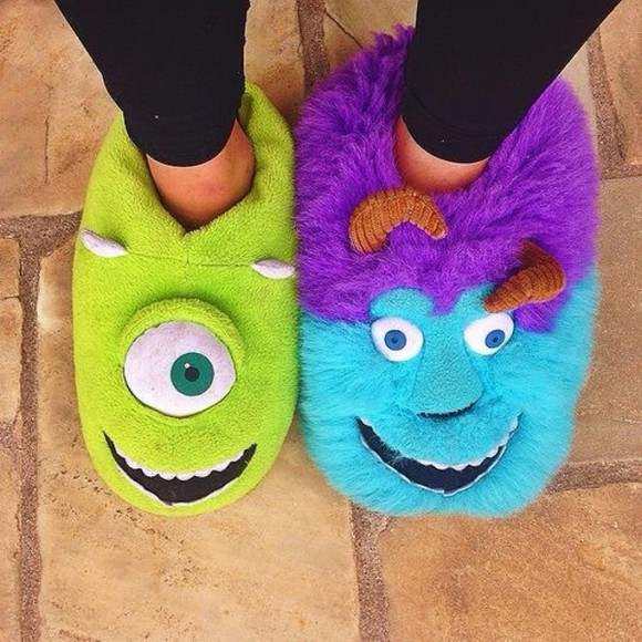 green shoes slippers monster university monster purple turquoise disney home home shoes home slippers cute monsters inc monsters comfy