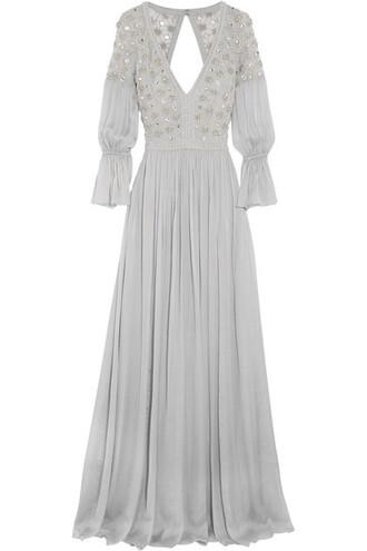 gown embellished silk dress