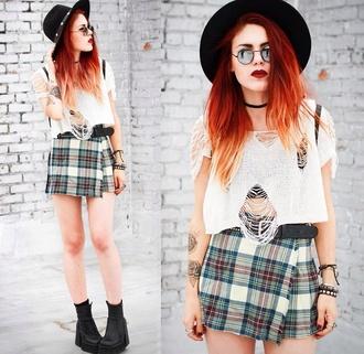 skirt vintage flannel tartan plaid print grunge old luanna perez le happy tartan skirt plaid skirt