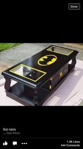 home accessory,coffee table,black,yellow,batman,table