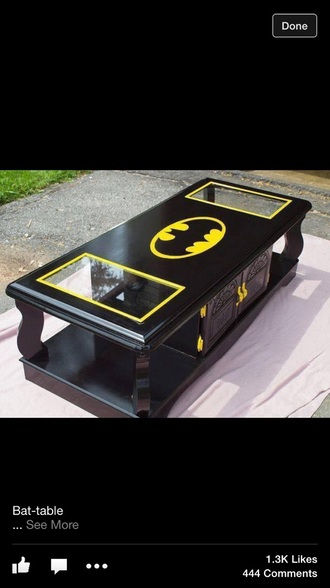 home accessory coffee table black yellow batman table