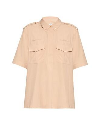 shirt short silk nude top