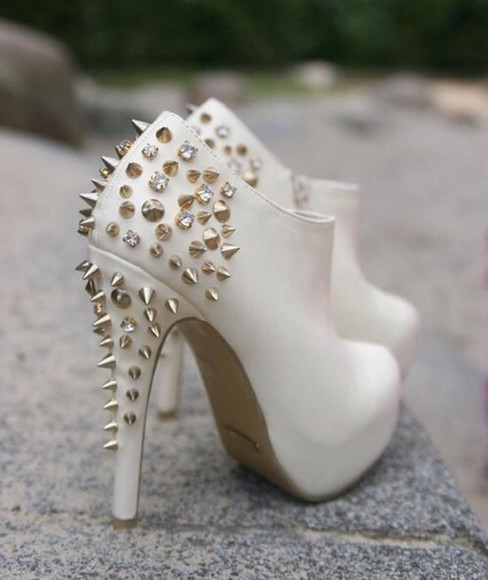 silver studded studs shoes white heels studded shoes studded booties white ankle boots ankle heels stylish shoes white pumps white studded pumps white silver studded cute heels