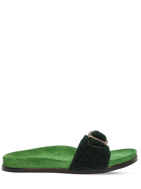 AVEC MODÉRATION 20mm Shearling Slide Sandals in green