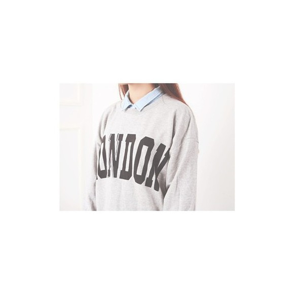 sweater pullover gray hoodie korean fashion london