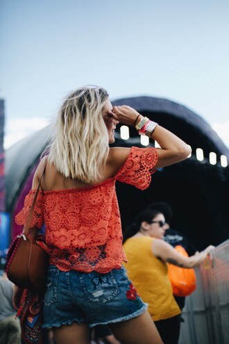top tumblr off the shoulder off the shoulder top red top lace top bag brown bag shorts