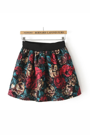 Vintage Flower Pattern Mini Skirt [FMCC0167]- US$19.99 - PersunMall.com