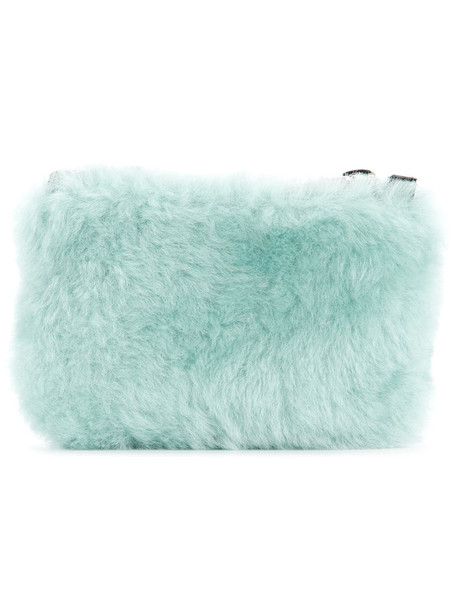 fur women clutch blue bag