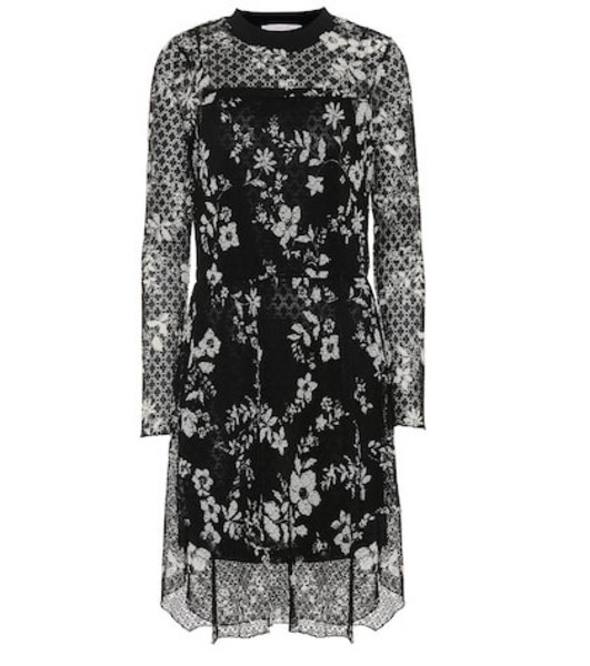 See By Chloé Floral--printed lace dress in black