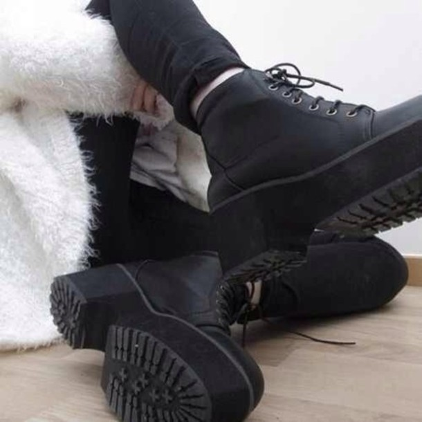 shoes black combat boots heel