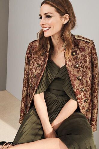 dress jacket editorial pleated olivia palermo olive green blogger military style