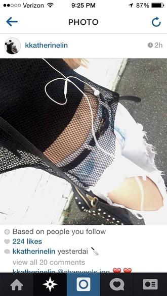 top black fishnet mesh top
