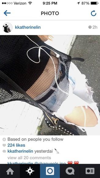 top mesh top fishnet black