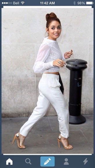 loose fit white pants white pants baggy pants trousers blouse vanessa hudgens high waisted pants beautiful shoes