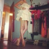 dress,white,ruffle,white ruffles,cute,beautiful,dressy,sweet,white dress,short dress,love,summer,summer dress,summer time,swag,hipster,prom dress,ivory dress,belt
