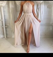 dress,nude,halter kneck,side slit,prom dress,beige,cream dress,white dress,double slit dress,halter neck,pink,floor length,floor length prom dress,white,long dress,cocktail dress,summer dress,tan,beige dress,maxi dress,nude beige cream,nude dress,party dress,elegant dress,prom,creme,halter dress,backless,formal dress,free shipping,free vibrationz,tan dress,halterdress,classic