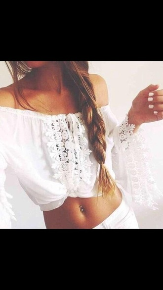 top boho lace white long sleeve laced crop top bohemian crop top girl tops crop tops detailed white crop tops bohemian bohemian style girl shirts fashion fashion inspo summer pretty girly