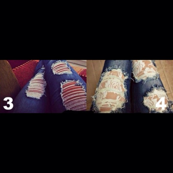 jeans lace ripped jeans cute