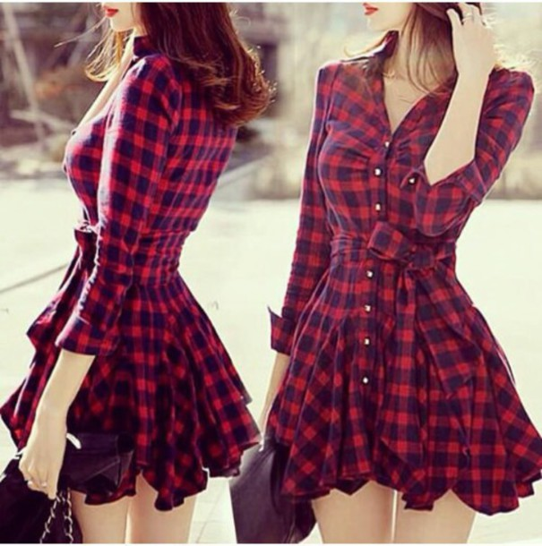 Red and black flannel shirt dress