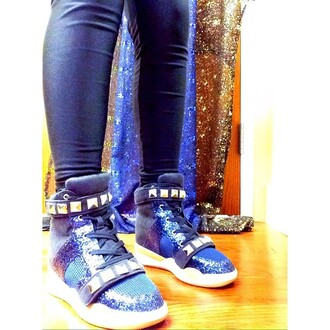 shoes qupid spunky funny bright bold blue sparkle swag cute sneakers sneaks chunky shoes chunky sole hidden wedge glitter shoes urban sneakers zooshoo