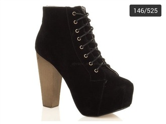 shoes black boots lace up high heels platform lace up boots