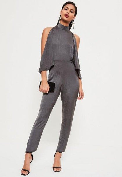 Missguided Grey open Shoulder High Neck Satin Romper