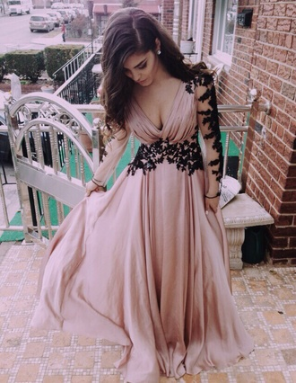 dusty pink pink prom dress prom dress long sleeve prom dress black lace v neck dress long prom dress dress formal dress pink lace prom elegant fancy chic gorgeous blush pink long dress long sleeves deep v-neck dress