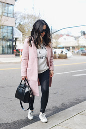 crystalin marie,blogger,sweater,leggings,coat,shoes,bag,sunglasses,pink coat,givenchy bag,sneakers,winter outfits