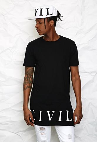 shirt civil t-shirt long tee black black t-shirt hat tee fashion streetwear white cap snapback