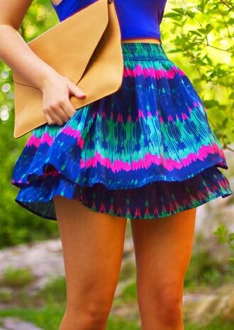 skirt tie dye vibrant summer blue skirt