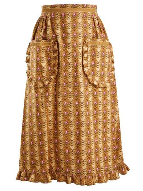 Batsheva - Wave Print Ruffled Cotton Skirt - Womens - Tan Multi