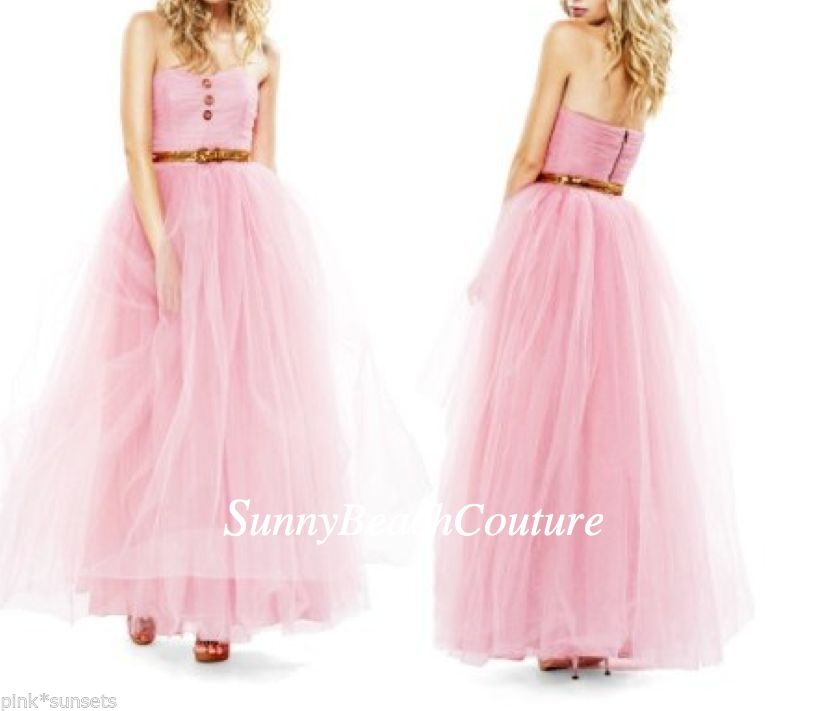 Betsey Johnson Pink pow Poof Strapless Gown Dress Seen on Glee Prom | eBay