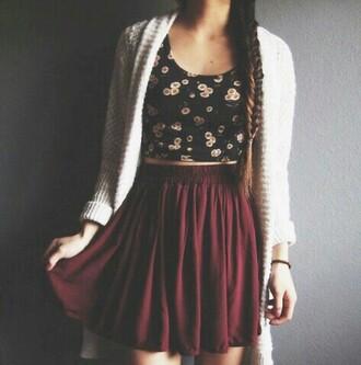 skirt jupe mi-longue bordeaux