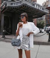 skirt,sequin skirt,metallic skirt,mini skirt,white t-shirt,white blazer,handbag,dior saddle bag,cat eye,earrings