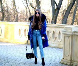 only my fashion style blogger coat jeans bag blue coat ankle boots shoulder bag winter outfits
