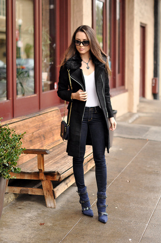 hapa time blogger sunglasses skinny jeans black coat coat jewels tank top bag shoes