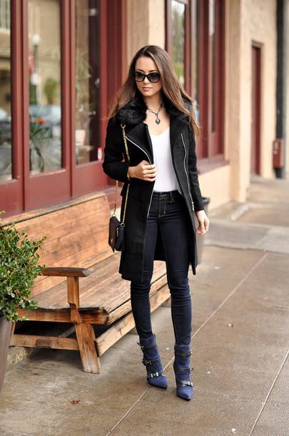 hapa time blogger sunglasses skinny jeans black coat coat jewels tank top bag shoes