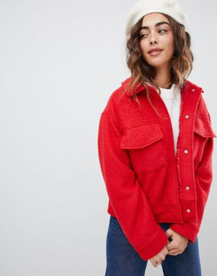 Monki textured short jacket with oversized pockets in red at asos.com