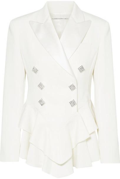 Alessandra Rich - Crystal-embellished Satin-trimmed Wool-crepe Peplum Blazer - Cream