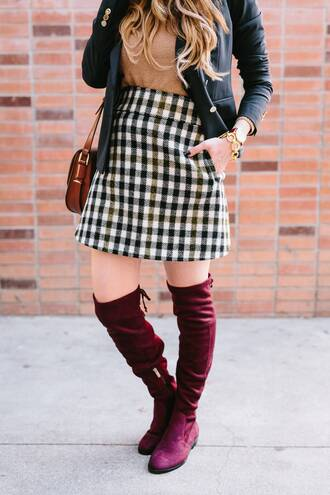 skirt tumblr mini skirt checkered top camel black blazer blazer boots burgundy thigh high boots flat boots over the knee boots bag brown bag