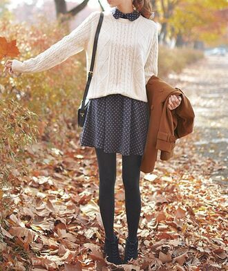 cardigan jumper dress coat fall outfits shoes polka dots grey collared dress peter pan collar fall dress sweater