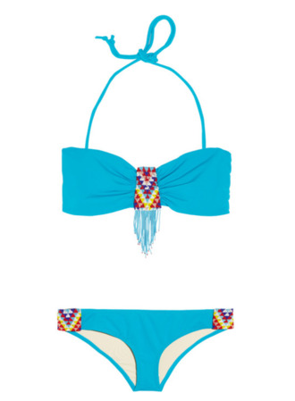 swimwear bikini blue bottoms top aztec baby blue bandeau hipster strings