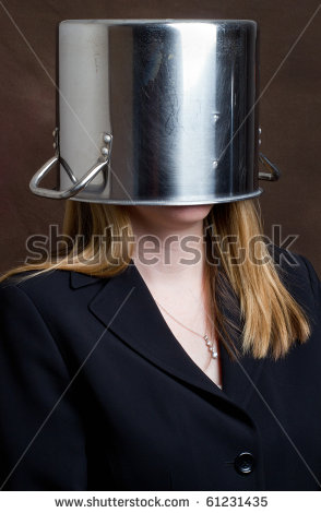 A Woman In Business Attire With A Cooking Pot Over Her Head. Illustrates The Expression &Quot;Pothead&Quot; Which Is American Slang For A Marijuana Addict. Stock Photo 61231435 : Shutterstock