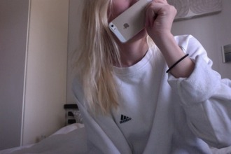 sweatshirt adidad adidas iphone jumper blonde hair cotton logo brand sportswear iphone5s happy sweater