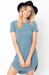 dress,striped curved hem tee dress,t-shirt,tees,hem tee dress,long tee dress,striped dress