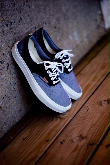 wood shoes sneakers dark blue light blue laces clean polka dots adorable